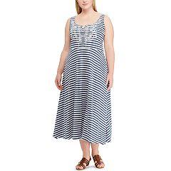 Plus Size Chaps Stripe Lace-Up Dress