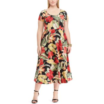 Plus Size Chaps Floral Fit & Flare Dress