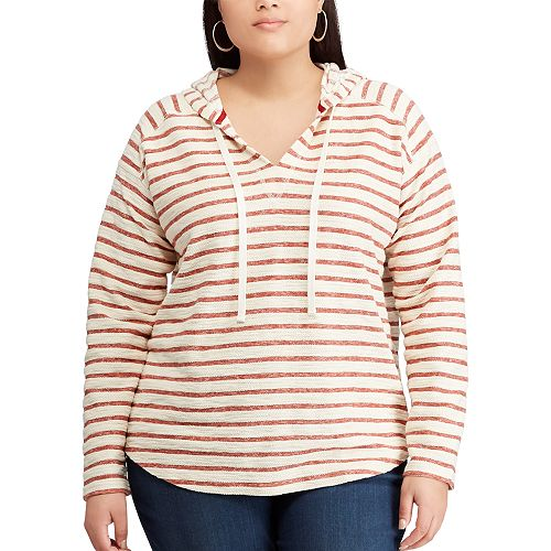 Plus Size Chaps Striped French Terry Hooded Top