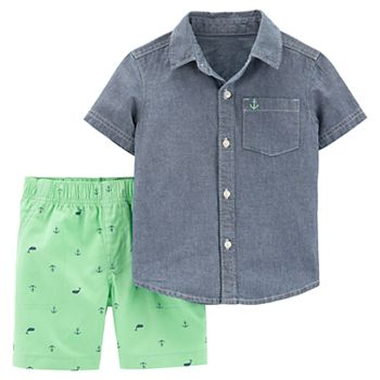 Toddler Boy Carter's Chambray Button Down Shirt & Patterned Shorts Set