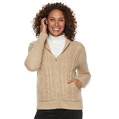 Women's Croft & Barrow® Cable-Knit Zip-Front Cardigan