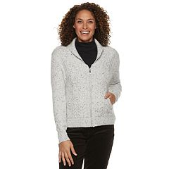 Women's Croft & Barrow® Cable-Knit Zip-Front Cardigan