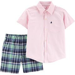 Toddler Boy Carter's Pocket Button Down Shirt & Plaid Shorts Set