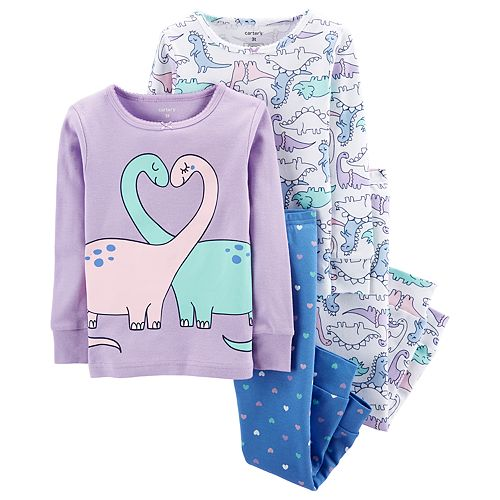 Toddler Girl Carter's Dinosaurs & Hearts Tops & Bottoms Pajama Set