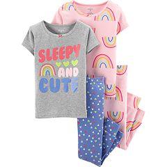 Baby Girl Carter's 'Sleepy & Cute' Rainbow Tops & Bottoms Pajama Set