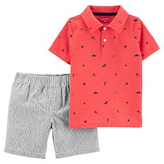 Toddler Boy Carter's Printed Polo & Striped Peached Shorts Set