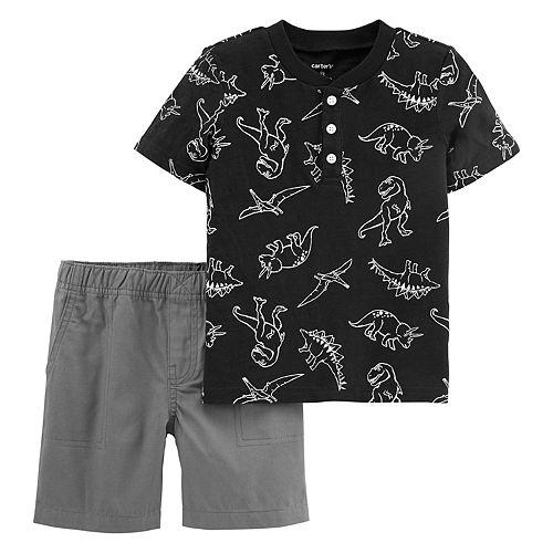 Toddler Boy Carter's Dinosaur Henley & Shorts Set