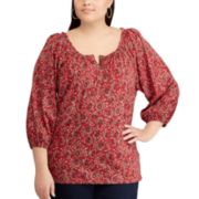 Plus Size Chaps Printed Ruffled Top