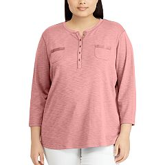 Plus Size Chaps Henley Pocket Top