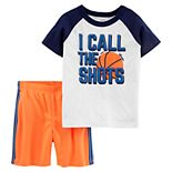 "Toddler Boy Carter's ""I Call The Shots"" Basketball Raglan Tee & Shorts Set"