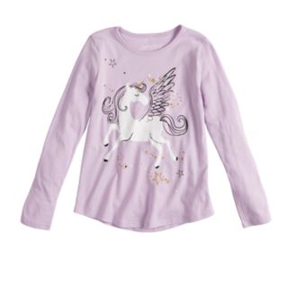 Girls 4-10 Jumping Beans® Long-sleeve Glittery Unicorn Graphic Tee