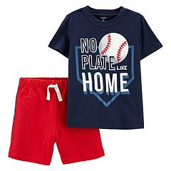 Toddler Boy Carter's Baseball 'No Plate Like Home' Graphic Tee & Shorts Set