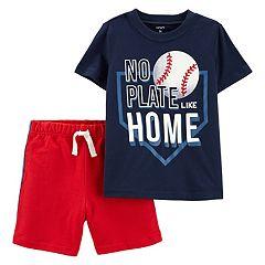 Toddler Boy Carter's Baseball 'No Plate Like Home' Graphic Tee & Shorts Set