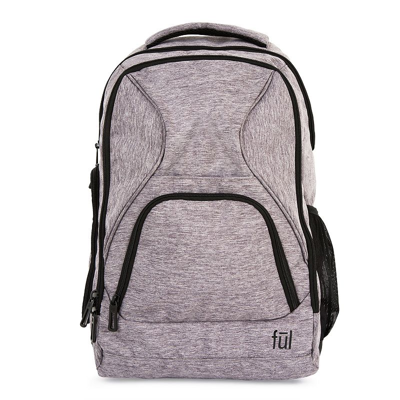 FUL Fuego Laptop Backpack, Grey Load up essentials and conquer your day with this FUL laptop backpack. Durable polyester construction is flexible and resistant to damage Rear, padded compartment fits a tablet or laptop up to 17-in. Secondary zipper compartment is ideal for books, notebooks and folders Zippered organizer pocket has Rfid shield protection to help prevent electronic theft Front panel zipper pocket with organizer Side zippered pockets for cables, chargers and other essentials Front quick access slip pocket Side panel mesh pocket fits a water bottle Padded back panel with air flow channel Back strap lets you attach to a trolley for hassle-free transport 18.5 H x 11.5 W x 5 D Weight: 1.3 lbs. Cation Polyester Zipper closure Manufacturer's 1-year limited warrantyFor warranty information please click here Model no. ABFL5683-064 Size: One size. Color: Grey. Material: Soft Side.