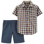 Toddler Boy Carter's Plaid Button Down Shirt & Canvas Shorts Set