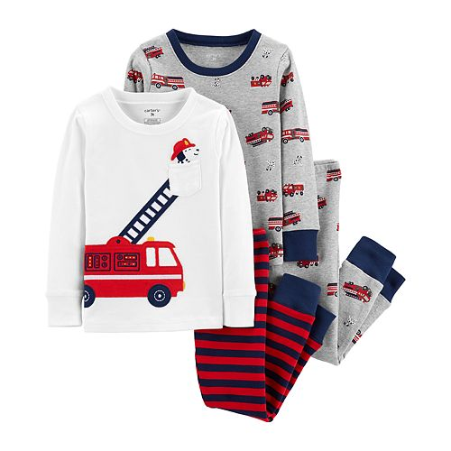 Toddler Boy Carter's Dalmation Fire Truck Top & Bottoms Pajama Set