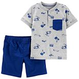 Toddler Boy Carter's Beach Pocket Henley Top & Shorts Set