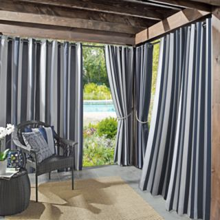 Sun Zero Valencia Cabana Stripe Indoor/Outdoor UV Protectant Curtain Panel