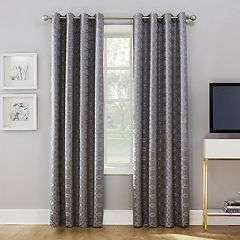 Sun Zero Rowes Woven Trellis Blackout Lined Curtain Panel