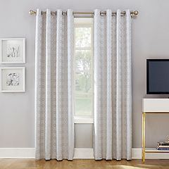 Sun Zero Rowes Woven Trellis Blackout Lined Curtain Panel