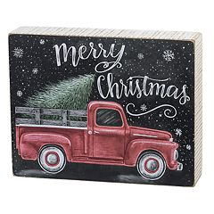 Red Truck 'Merry Christmas' Box Sign Art