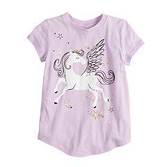 Girls 4-10 Jumping Beans® Short-sleeve Glittery Unicorn Graphic Tee