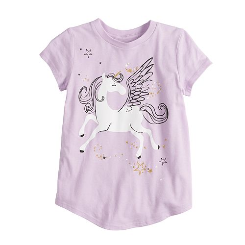 Girls 4-10 Jumping Beans® Short-sleeve Glittery Unicorn Graphic Tee