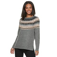 Petite SONOMA Goods for Life™ Supersoft Fairisle Crewneck Sweater