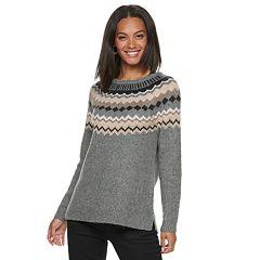 Petite SONOMA Goods for Life™ Supersoft Fairisle Crewneck Sweater