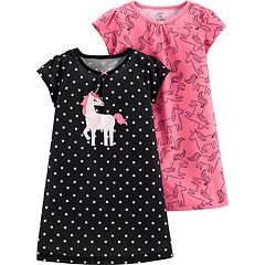 Toddler Girl 2-pack Unicorn Graphic & Print Nightgowns