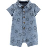 Baby Boy Carter's Lion Print Chambray Romper