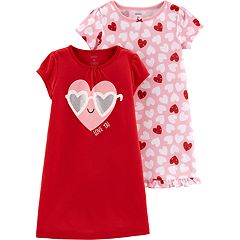 Toddler Girl 2-pack Heart Graphic & Print Nightgowns