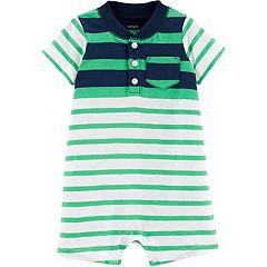 Baby Boy Carter's Striped Henley Pocket Romper