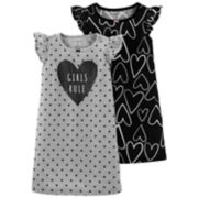 "Toddler Girl Carter's 2-pack ""Girls Rule"" Heart Dorm Nightgowns"