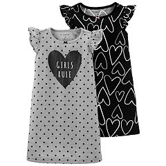 Toddler Girl Carter's 2-pack 'Girls Rule' Heart Dorm Nightgowns