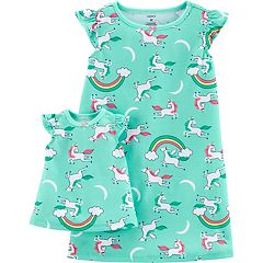 Toddler Girl Carter's Unicorn & Rainbows Nightgown & Matching Doll Nightgown Set
