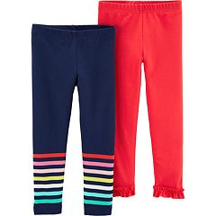 Baby Girl Carter's 2-pack Striped & Ruffled-Hem Leggings