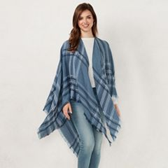 Women's LC Lauren Conrad Slubbed Border Plaid Ruana