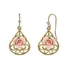 1928 Pink Porcelain Rose Teardrop Earrings