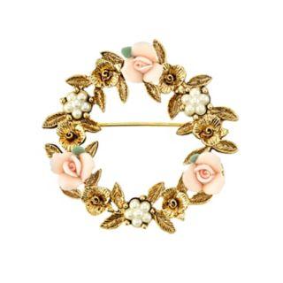 1928 Porcelain Rose Wreath Pin