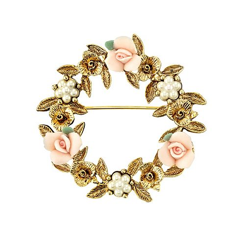 1928 Porcelain Rose Wreath Pin