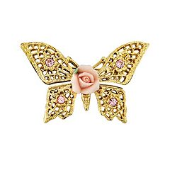 1928 Porcelain Rose Butterfly Pin