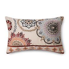 Pointehaven Casablanca Textured Embroidered Oblong Throw Pillow