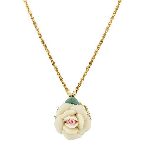 1928 Porcelain Rose Pendant