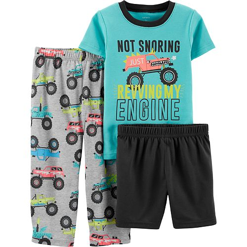 Toddler Boy Carter's Top, Shorts & Pants Monster Truck Pajama Set