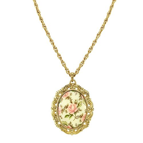 1928 Flower Oval Pendant Necklace