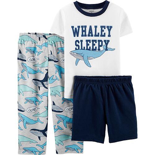 """Toddler Boy Carter's """"Whaley Sleepy"""" Top, Shorts & Pants Pajama Set"""