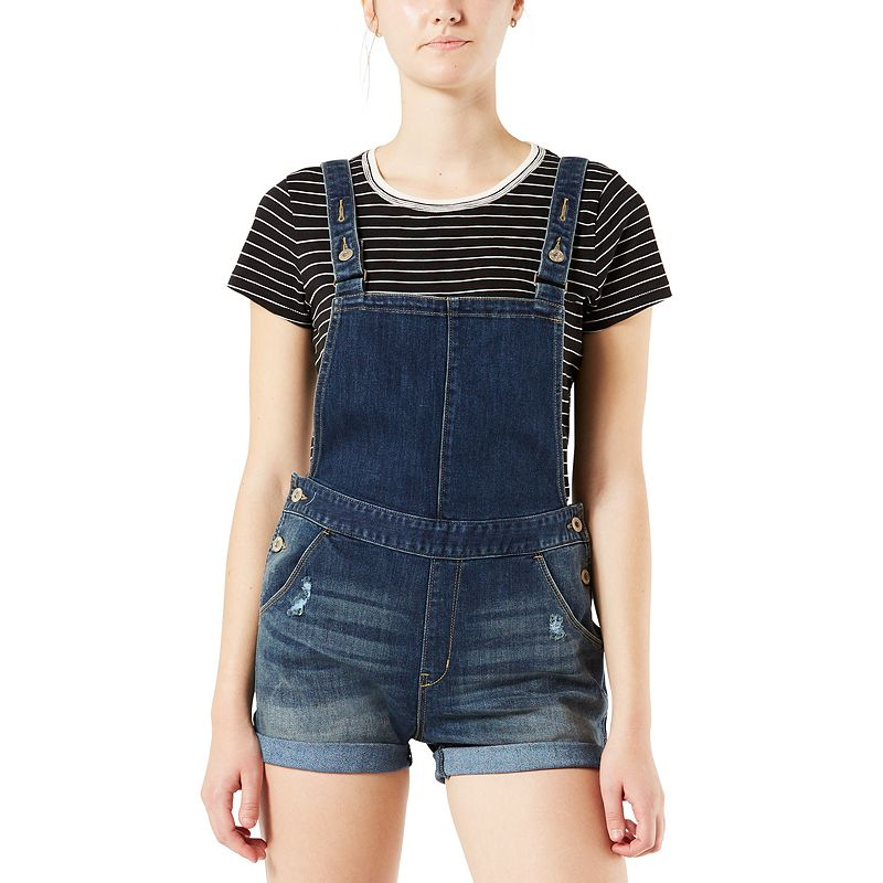 Juniors' Denizen from Levi's Cuffed Shortalls, Teens, Size: Medium, Blue Cute and casual, these juniors' Denizen from Levi's jean shortalls will be a summer staple. Cuffed hems 4 functional front pockets 2 functional back pockets 2-in. approx. inseam Fabric & Care Cotton, polyester, spandex Machine wash Imported Size: Medium. Color: Blue. Gender: Female. Age Group: Kids. Material: Denim.