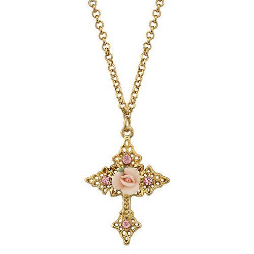1928 Porcelain Rose Cross Pendant Necklace
