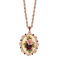 1928 Flower & Simulated Crystal Oval Pendant Necklace